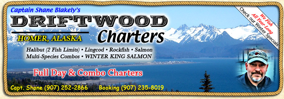 Halibut charters, rockfish charters, king salmon charters and combo fishing charters in Homer Alaska.